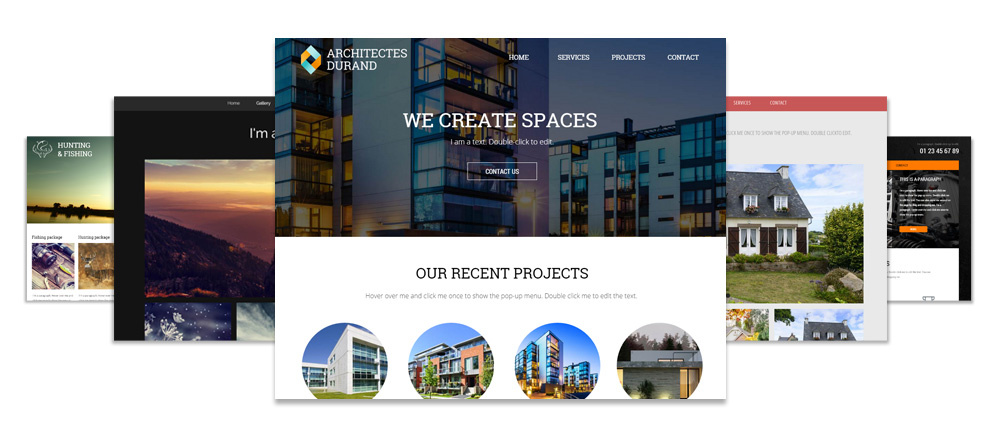 Website templates for architects, restaurants, sports clubs, hunting and fishing clubs, automobile repair shops and more